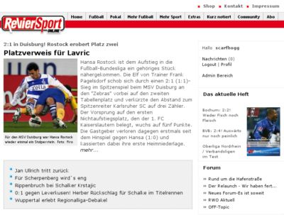 RevierSport online Screenshot
